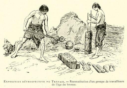 Exposition retrospective du Travail, reconstitution d'un groupe de travailleurs de l'age du bronze. Illustration for L'Exposition De Paris, 1889 (Librairie Illustree, 1889).