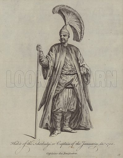 Habit of the Tehorbadgi or Captain of the Janesaries in 1700. Illustration from Recueil des Habillements de Differentes Nations, Anciens et Modernes, d'apres les Dessins de Holbein, de Vandyke, de Hollar et de Quelques Autres (Thomas Jefferys, London, 1757).