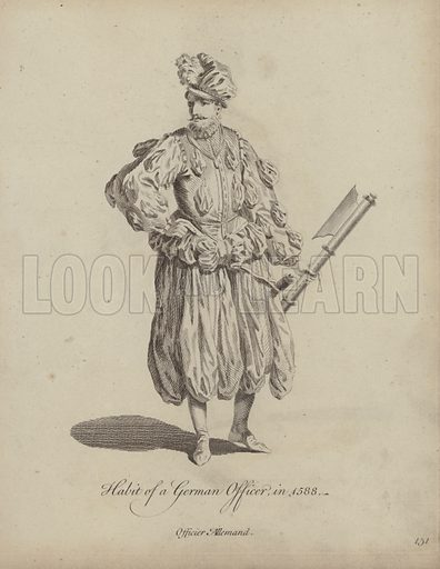 Habit of a German Officer in 1588. Illustration from Recueil des Habillements de Differentes Nations, Anciens et Modernes, d'apres les Dessins de Holbein, de Vandyke, de Hollar et de Quelques Autres (Thomas Jefferys, London, 1757).