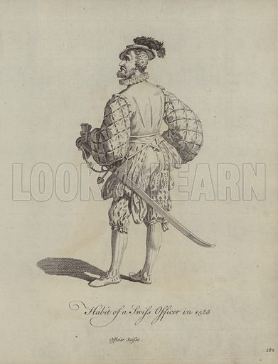 Habit of a Swiss Officer in 1588. Illustration from Recueil des Habillements de Differentes Nations, Anciens et Modernes, d'apres les Dessins de Holbein, de Vandyke, de Hollar et de Quelques Autres (Thomas Jefferys, London, 1757).