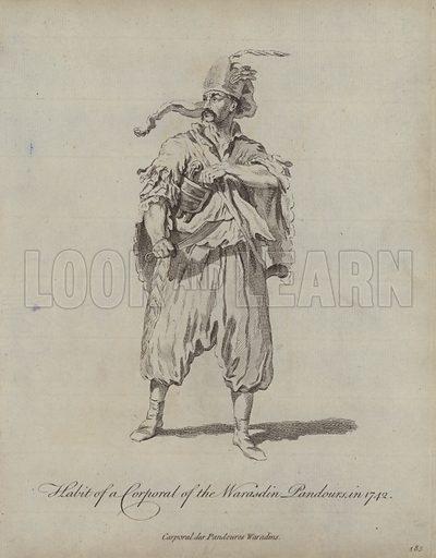 Habit of a Corporal of the Warasdin Pandours in 1742. Illustration from Recueil des Habillements de Differentes Nations, Anciens et Modernes, d'apres les Dessins de Holbein, de Vandyke, de Hollar et de Quelques Autres (Thomas Jefferys, London, 1757).