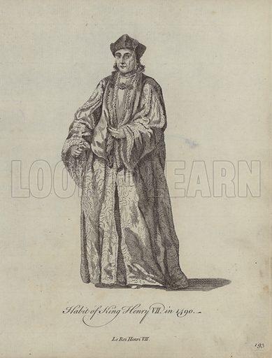 Habit of King Henry VII in 1490. Illustration from Recueil des Habillements de Differentes Nations, Anciens et Modernes, d'apres les Dessins de Holbein, de Vandyke, de Hollar et de Quelques Autres (Thomas Jefferys, London, 1757).
