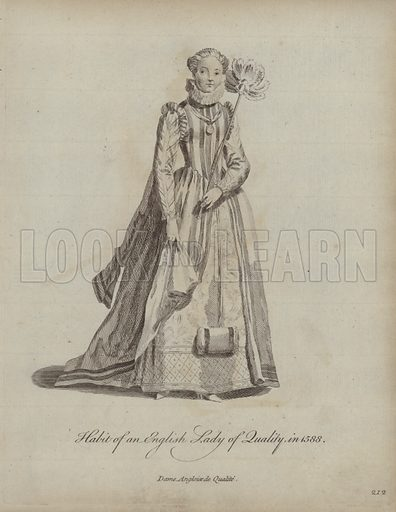 Habit of an English Lady of Quality in 1588. Illustration from Recueil des Habillements de Differentes Nations, Anciens et Modernes, d'apres les Dessins de Holbein, de Vandyke, de Hollar et de Quelques Autres (Thomas Jefferys, London, 1757).