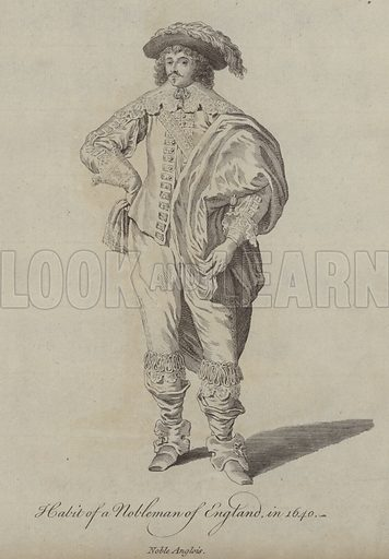 Habit of a Nobleman of England in 1640. Illustration from Recueil des Habillements de Differentes Nations, Anciens et Modernes, d'apres les Dessins de Holbein, de Vandyke, de Hollar et de Quelques Autres (Thomas Jefferys, London, 1757).