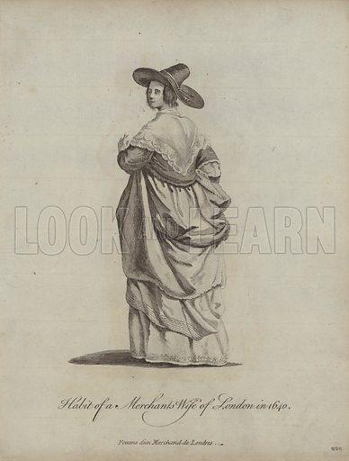 Habit of a Mechant's Wife of London in 1640. Illustration from Recueil des Habillements de Differentes Nations, Anciens et Modernes, d'apres les Dessins de Holbein, de Vandyke, de Hollar et de Quelques Autres (Thomas Jefferys, London, 1757).