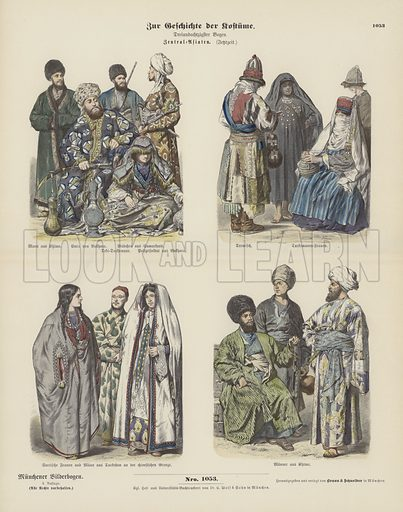 Costumes of Central Asia, late 19th Century. Illustration for Zur Geschichte der Kostume (Braun & Schneider, c 1895).