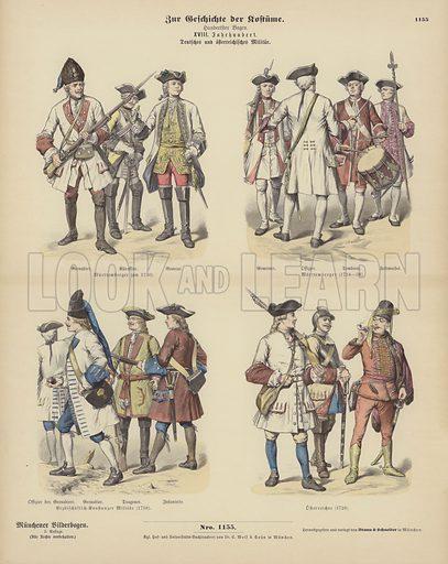 German and Austrian military uniforms, 18th Century. Illustration for Zur Geschichte der Kostume (Braun & Schneider, c 1895).