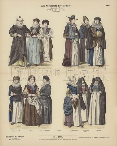 German costumes, 17th Century. Illustration for Zur Geschichte der Kostume (Braun & Schneider, c 1895).