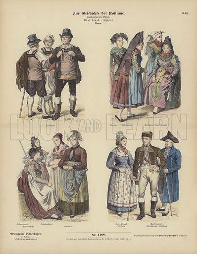 Costumes from Baden, Germany, 19th Century. Illustration for Zur Geschichte der Kostume (Braun & Schneider, c 1895).