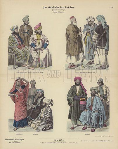 Afghan costumes, 19th Century. Illustration for Zur Geschichte der Kostume (Braun & Schneider, c 1895).