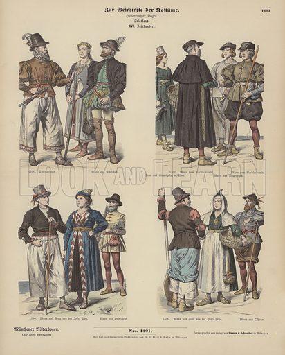 Frisian costumes, 16th Century. Illustration for Zur Geschichte der Kostume (Braun & Schneider, c 1895).