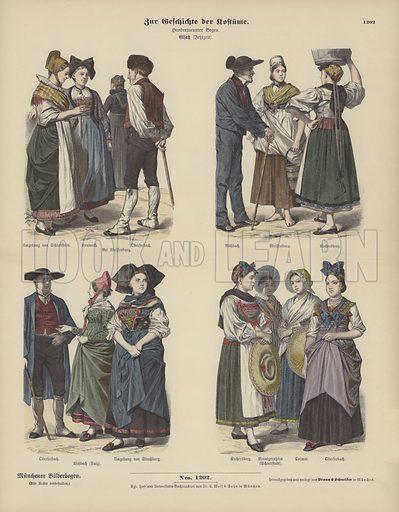Costumes from Alsace, 19th Century. Illustration for Zur Geschichte der Kostume (Braun & Schneider, c 1895).