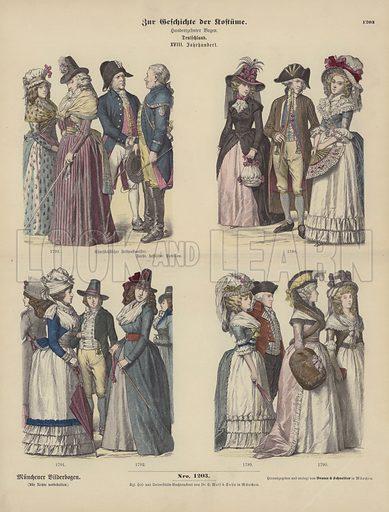 German costumes, 18th Century. Illustration for Zur Geschichte der Kostume (Braun & Schneider, c 1895).