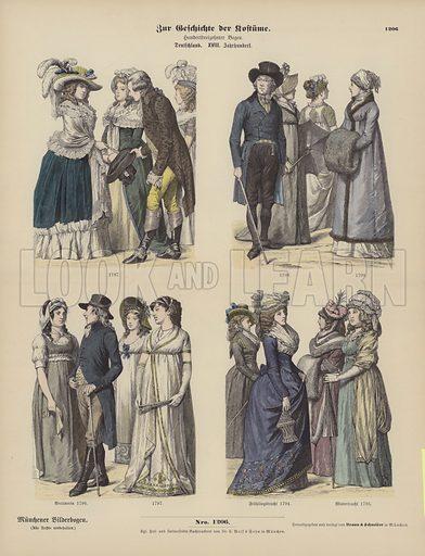 German costumes, late 18th Century. Illustration for Zur Geschichte der Kostume (Braun & Schneider, c 1895).