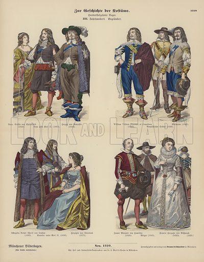 Costumes of English nobility, 17th Century. Illustration for Zur Geschichte der Kostume (Braun & Schneider, c 1895).