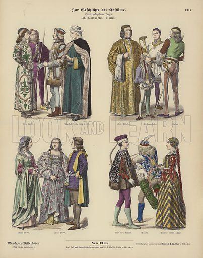 Italian costumes, 15th Century. Illustration for Zur Geschichte der Kostume (Braun & Schneider, c 1895).