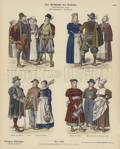 German costumes, 16th Century. Illustration for Zur Geschichte der Kostume (Braun & Schneider, c 1895).