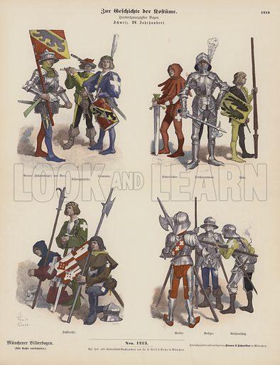 Swiss military costumes of the 15th Century. Illustration for Zur Geschichte der Kostume (Braun & Schneider, c 1895).
