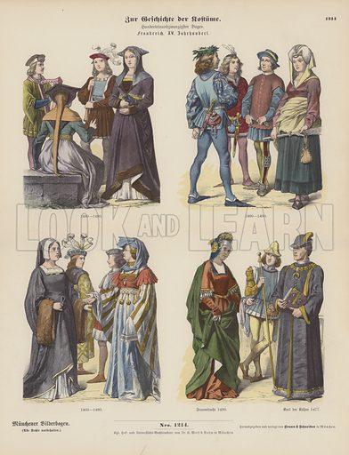 French costumes of the 15th Century. Illustration for Zur Geschichte der Kostume (Braun & Schneider, c 1895).