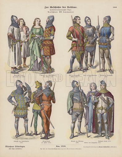 German costumes of the 14th Century. Illustration for Zur Geschichte der Kostume (Braun & Schneider, c 1895).