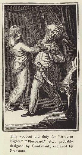 Woodcut that did duty for Arabian Nights, Bluebeard, etc.  Illustration for Banbury Chap Books (Arthur Reader, 1890).