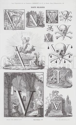 Sujets Religieux.  Illustration for catalogue, Subjets Religieux by Fonderie Typographique Deberny Et Cie (Paris, c 1880).
