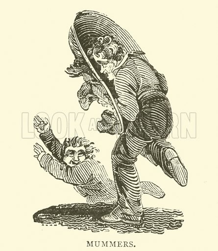 Mummers.  Illustration for 1,000 Quaint Cuts (Field and Tuer, The Leadenhall Press, 1886).