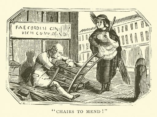 Chair mender.  Illustration for 1,000 Quaint Cuts (Field and Tuer, The Leadenhall Press, 1886).