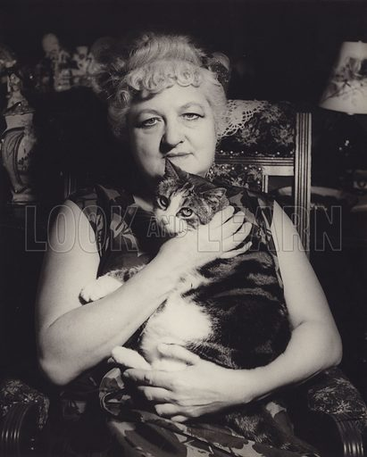 Unidentified woman with cat.