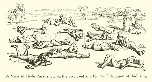 A View in Hyde Park, prior to the Great Exhibition of 1851.  Illustration for Mr Punch's History of Modern England by Charles L Graves (Cassell, 1922).