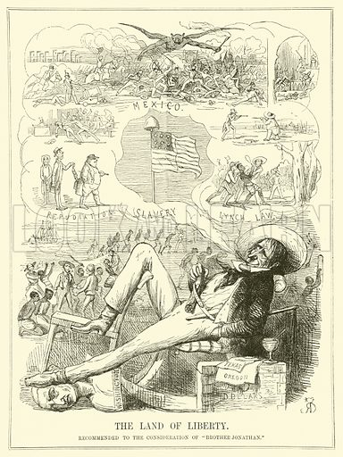 The United States, The Land of Liberty, Not.  Illustration for Punch, Vol XIII (July - December 1847).