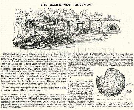 The Californian Movement. Illustration for Punch, Vol XVI(January – June 1849).