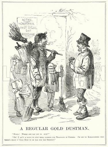 Punch cartoon: A Regular Gold Dustman. Illustration for Punch, Vol XVI(January – June 1849).
