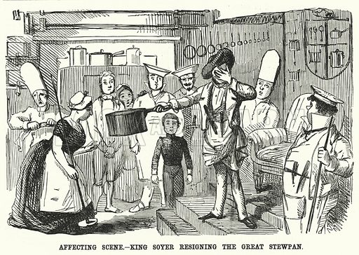 Punch cartoon: resignation of Alexis Soyer as chef of the Reform Club, London. Illustration for Punch, Volume 18, January – June 1850.
