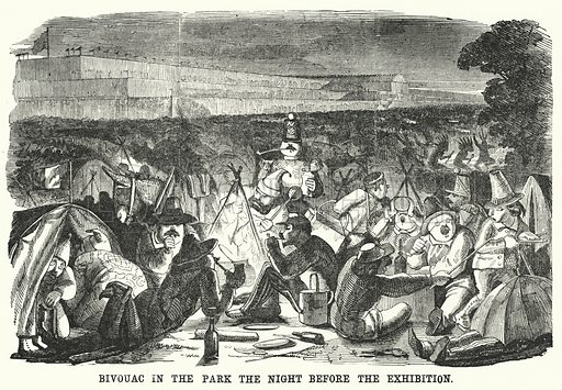Punch cartoon: Great Exhibition of 1851: Bivouac in the Park the Night Before the Exhibition. Illustration for Punch, Volume 20, January – June 1851.