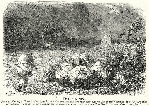 Punch cartoon: picnic in the rain stock image   Look and Learn