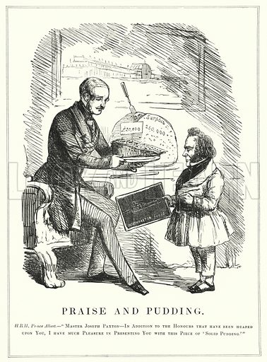 Punch cartoon: Praise and Pudding: Prince Albert rewarding Joseph Paxton for designing the Crystal Palace to house the successful Great Exhibition of 1851 in Hyde Park, London. Illustration for Punch, Volume 21, July - December 1851.