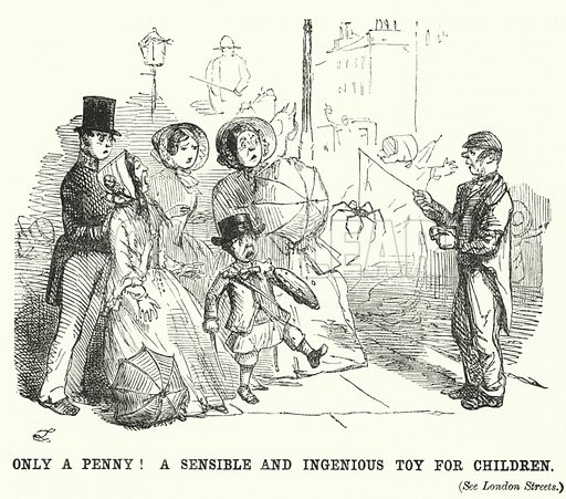Punch cartoon: street trader offering a spider to a family as a children's toy. Illustration for Punch, Volume 21, July - December 1851.