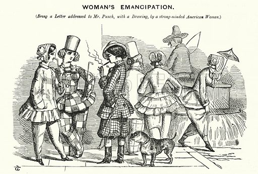 Punch cartoon: Woman's Emancipation. Illustration for Punch, Volume 21, July - December 1851.