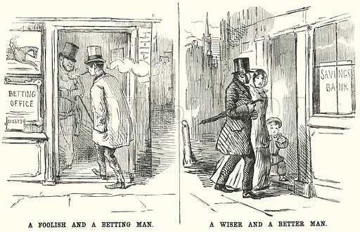 Punch cartoon: the vice of betting contrasted with the virtue of saving. Illustration for Punch, Volume 22, January - June 1852.