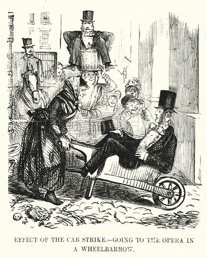 Punch cartoon: Effect of the Cab Strike - Going to the Opera in a Wheelbarrow: London's first strike by cab drivers. Illustration for Punch, Volume 25, July - December 1853.