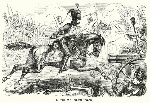 Punch cartoon: A Trump Card(igan) – James Brudenell, 7th Earl of Cardigan, leading the Charge of the Light Brigade at the Battle of Balaclava during the Crimean War. Illustration for Punch, Volume 27, July – December 1854.