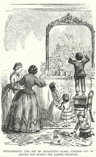 Punch cartoon: Potichomania (the Art of Decorating Glass), Carried Out by Master Tom during the Easter Holidays. Illustration for Punch, Volume 28, January - June 1855.