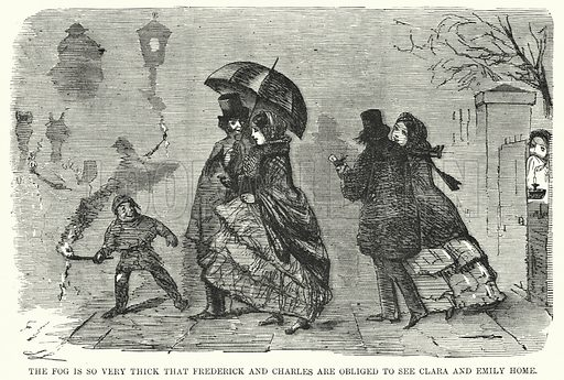 Punch cartoon: taking advantage of the thick London fog. Illustration for Punch, Volume 28, January – June 1855.