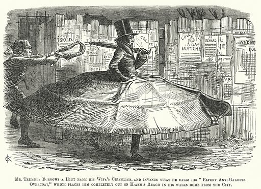Punch cartoon: patent garotte-proof overcoat. Illustration for Punch, Volume 31, July - December 1856.