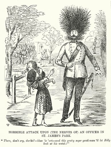 Punch cartoon: Horrible Attack upon (the Nerves of) an Officer in St James's Park. Illustration for Punch, Volume 31, July - December 1856.