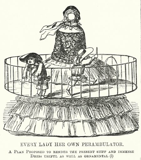 Punch cartoon: Every Lady Her Own Perambulator - the fashion for women's hoop skirts. Illustration for Punch, Volume 31, July - December 1856.