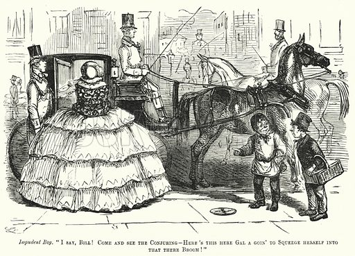 Punch cartoon: woman wearing a wide hoop skirt struggling to get into a carriage. Illustration for Punch, Volume 31, July - December 1856.