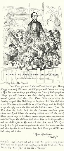 Punch cartoon: Homage to Hans Christian Andersen. Illustration for Punch, Volume 32, January – June 1857.