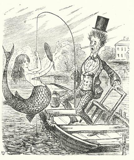 Punch cartoon: fisherman catching a mermaid